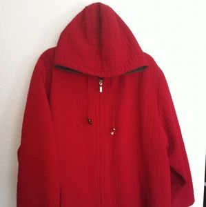 2X Willow Lane Red quilted zipper hoodie jacket